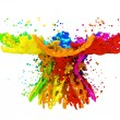 Stock Photo: Colorful paint splashing isolated on white