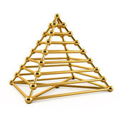 Abstract 3d illustration of golden pyramid — Stock Photo