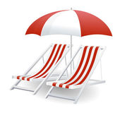 Chair and beach umbrella isolated — Stock Vector