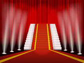 Red carpet and stair for rewarding ceremony — Stockvector