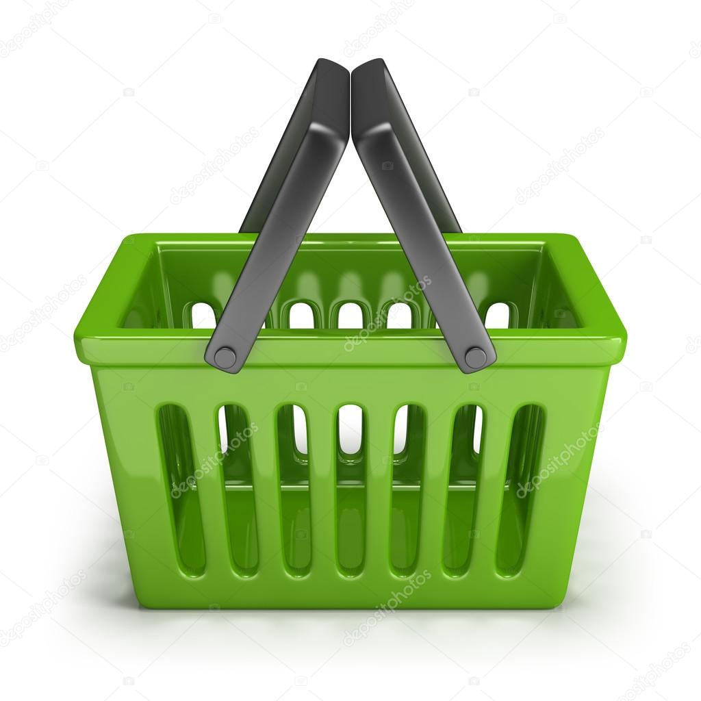 Green shopping basket. 3d image. Isolated white background. — Stock Photo #15421855