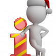 3d small people - Santa and info icon — Stock Photo