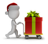 3d small people - Santa carries a gift — Stock Photo