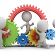 Stock Photo: 3d small people - team mechanism
