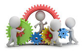 3d small people - team mechanism — Stock Photo