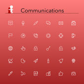 Communications Line Icons — Stock Vector