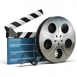 Cinema clapper and film tape — Stockfoto #9235423