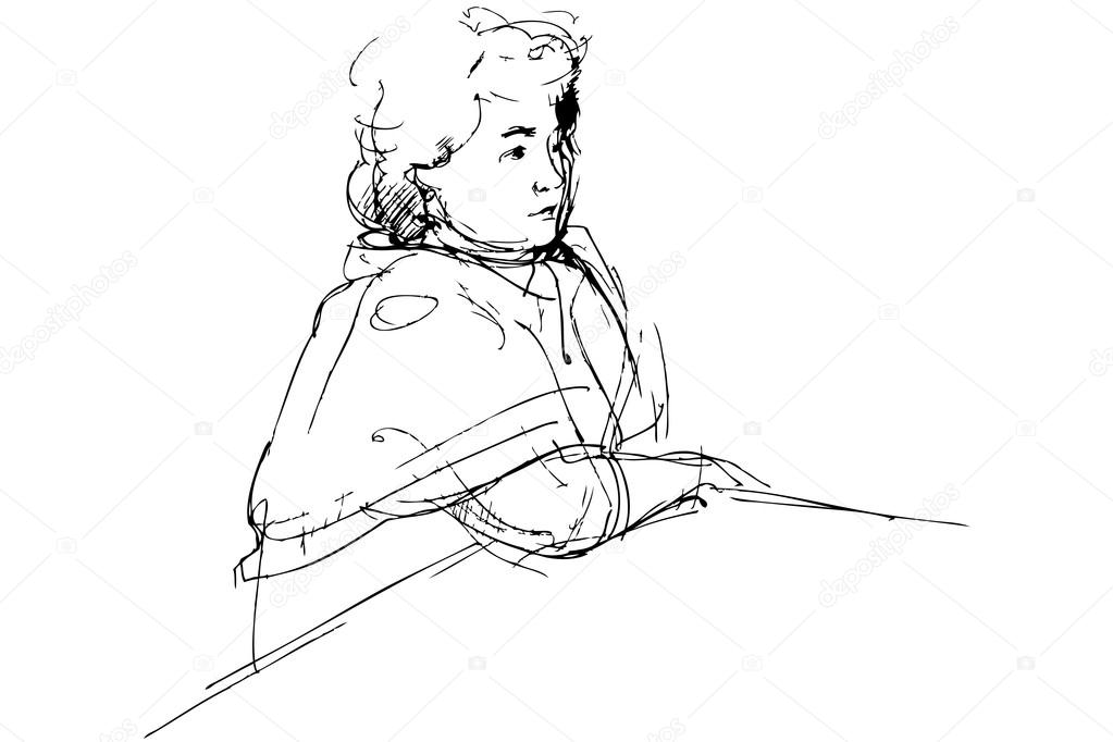 A sketch of complete woman being at a table  Stock Vector #13875442