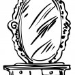 Sketch of large mirror on a dressing-table — Stock vektor