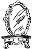 Sketch of large mirror on a dressing-table — Stock Vector