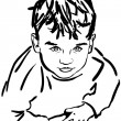 Sketch boy with the dishevelled hair - Image vectorielle