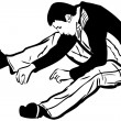 Image of a young man sitting on the floor - Imagen vectorial