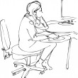 Sketch a girl sits and works at the computer - Stock Vector