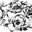 Vector de stock : Sketch of beautiful wreath of flowers peonies