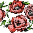 Sketch of a beautiful wreath of flowers peonies - Imagen vectorial
