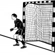 Athlete football goalkeeper protects the gate — Stockvectorbeeld
