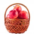 Sweet red fruit ripe apples in the basket — Stockfoto