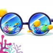 Coral reef in sunglasses on a white background — Stock Vector