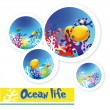 Colorful images of underwater ocean life — Stock Vector