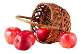 Sweet red fruit ripe apples in the basket — Stock Photo