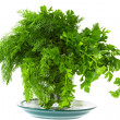 Seasoning green dill and parsley on a plate — Stock Photo