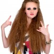 Girl in punk rock style on white background — Stock Photo #33457115