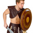 Young male warrior with a shield — Foto de Stock