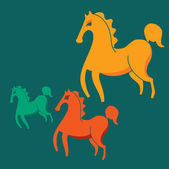 Three colorful horses on a green background — Stock Vector