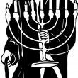 Jewish menorah in hat with hands — Image vectorielle