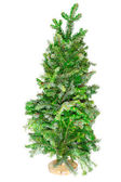 Small tree Christmas tree on a stand — Stock Photo