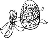 Image of the Easter egg with a pattern bandaged by a ribbon — Stock Vector