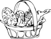 Preview basket with painted easter eggs — Vector de stock