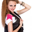 Girl in punk rock style on white background — Stock Photo #39169159