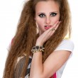 Girl in punk rock style on white background — Stock Photo