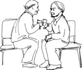 Two grandfathers drink sitting on chairs — Stock Vector