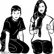 Boy and girl sitting next — Stock Vector #43883355