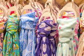 Colored scarves tied like a tiet — Stock Photo