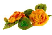 Orange rose flower image made from wool — Stock Photo