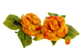 Orange rose flower image made from woolwool — Stock Photo