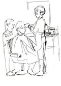 Young man in the barber shop at the master — Stock Photo