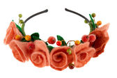 Berries and beautiful roses woven into a wreath — Stock Photo