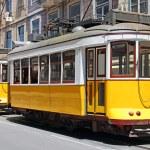 Yellow trams in Lisbon — Stock Photo