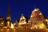 Town Hall square at night, Riga, Latvia — Stock Photo