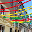 Lisbon street with holiday decoration — Stock Photo