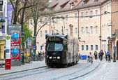 Tram in dowtown Freiburg im Breisgau, Germany — Stock Photo