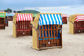 Strandkorb - typical beach chairs on the Baltic sea — Stock Photo