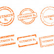 Stock Vector: Vitamin B9 stamps
