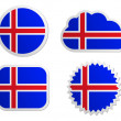 Iceland flag labels - Stock Vector