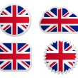 United Kingdom flag labels — Stock Vector