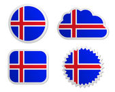 Iceland flag labels — Stock Vector